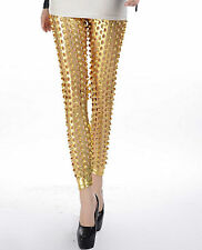 Sexy Gold Metallic Liquid Metal Effect See Through Leggings Dancewear
