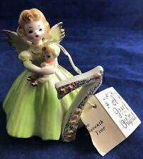 Vintage Josef Originals Age 7 Birthday Angel Figurine -W/ Tag-Black Eyes- Doll