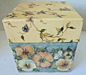 Vintage Stacking Bob's Boxes pansy vines and bluebirds art by Susan Winget