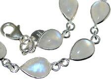 925 Sterling SILVER Rainbow Moonstone Bracelet Natural Gemstones Jewellery Gifts