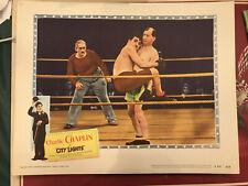 "City Lights 1950's United Artists 11x14"" comedy lobby Charlie Chaplin Hank Mann"