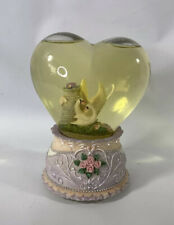 Vintage Heart-Shaped Musical Water Globe With Pink Roses