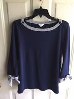 Women's Crown & Ivy Knit Top, Navy with Stripe Trim 3/4 Sleeve Small
