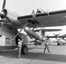 WW2  Photo WWII US Navy PBY Catalina Torpedo  Loading  World War Two USN  /5245