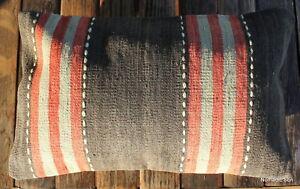 (30*50cm, 12*20inch) Lumbar handwoven kilim cover charcoal stripes