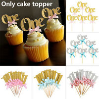 One Year Birthday Cupcake Toppers Party Baby Shower Wedding Cake Decors 10pcs ~