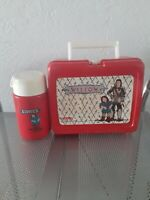 1988 Willow Red Plastic Lunchbox W/ Thermos vintage!
