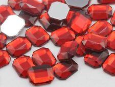 10X8mm Red Garnet A28 Flat Back Octagon Acrylic Gemstones - 70 PCS