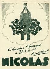 """""""VINS NICOLAS"""" Annonce originale entoilée L'ILLUSTRATION 12/1/1929"""