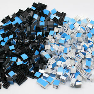 Aluminum Heatsink 8.8*8.8*5mm Silver / Black Anodized With Thermal Tape Applied.