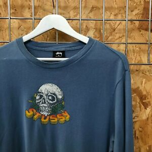 Stussy Skull Long sleeve Tee T-Shirt - S SMALL Supreme cond l/s -Tattoo, Vintage