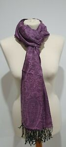 Paisley kashmiri scarf shawl headscarf floral silk ladies women hijab purple