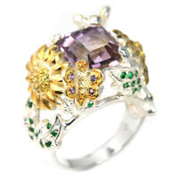 NATURAL AAA BI-COLOR AMETRINE & CZ STERLING 925 SILVER BUTTERFLY-FLOWER RING 7.5