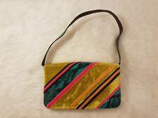 CASADEI Multi Color Leather and Velour Snake Skin Print Clutch Shoulder Bag