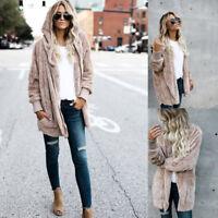 Fashion Women's Fleece Fur Jacket Outerwear Tops Winter Warm Hooded Fluffy Coat