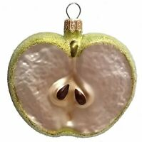 Slice of a Green Apple Fruit Polish Blown Glass Christmas Ornament Decorations