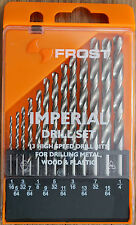 Imperial Drill Bit Set 13 PCE HSS for Drilling Metal Wood Plastic Frost Sutton