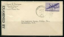 US GUAYAMA, PR 11/30/1942 CENSORED AIR MAIL COVER TO ROCHESTER, NY AS SHOWN