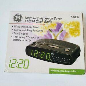 Vintage GE 7-4836 Large Display Space Saver AM/FM Clock Radio Brand New Tested