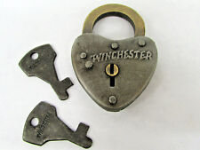 Antique Style RUSTIC Winchester Heart Gate Lock Padlock With 2 Working Keys