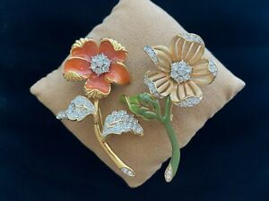 Nolan Miller Glamour Collection Country Flower Brooch Set (Coral Orange Enamel)