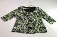 Alfani Women's ¾ Sleeve Blouse Top 2X Black Green Abstract Scoopneck Stretch