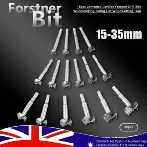 16Pcs 15-35mm Forstner Drill Bits Hinge Cutter Boring Hole Woodworking Set NEW