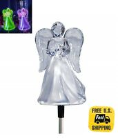 Solar Powered Angel w/ Frosted Skirt Yard Garden Stake Color Change LED Light