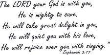 Zephaniah 3:17  11 x 22  Vinyl Wall Decal by Scripture Wall Art