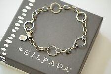 "Silpada ""Linked Charm"" Bracelet Oxidized Sterling Silver 8.5"" Long B2469"