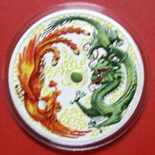 Australien 1 Dollar 2017 Dragon & Phoenix 1 oz  #F3341 Colored,gildet, Nur 100