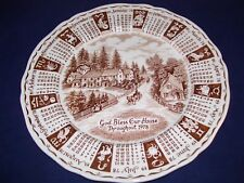 """Alfred Meakin 1978 Calendar Plate Brown God Bless Our House England Zodiac 9"""""""