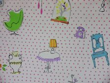 Designers Guild Tea Time Fabric Remnant Off Cut Pink Polka Dot Chair Lamp 0.4m