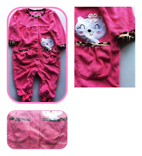 9-12 MONTHS 100% COTTON VELOUR PINK BABYGROW CAT POCKET ANIMAL PRINT TRIM BNWT