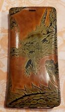 Custom Hand Tooled Leather Wallet and Case for Samsung Galaxy S7 Edge - Dragon