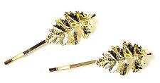 Set of 2 Gold Tone Leaf Hair Clips Woodland Bridal Grips Vintage Bobby Pins 1016