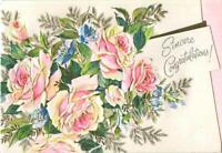 VINTAGE GARDEN FLOWERS EMBOSSED PINK ROSES GOLD FERNS CONGRATS ART GREETING CARD