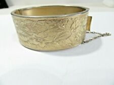 ETCHED BRACELET VINTAGE REPOUSSE WITH SAFETY CHAIN SIGNED CORO GOLD TONE