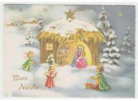 Buon Natale card 60's nativity Jesus Child angels hut comet