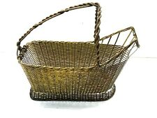 Antique Hand Woven Brass Wine Basket Tote Server Picnics (Only Basket For Sale)
