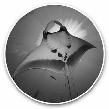 2 x Vinyl Stickers 7.5cm (bw) - Majestic Manta Ray Sea Life  #39253