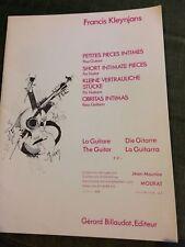 Francis Kleynjans Petites pièces intimes pour guitare partition billaudot