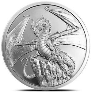 1 ~ OZ  999 SILVER ~ THE WELCH DRAGON ~ WORLD of DRAGONS ~ #2 SERIES ~ $62.88