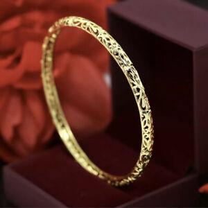 "9ct 9K ""Gold Filled""lovely 62mm(2.44"") Carved Bangle Bracelet Width 5mm+Pouch"