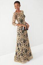 Tadashi Shoji GOLD FLORAL Lace / BLACK Gown , sz.12, New $588