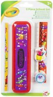 Kid Stationery Set Pencil Case,Pencil,Ruler,Eraser - 5 Piece Crayola School Set
