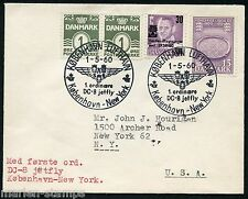 Denmark May 1, 1960 Dc8 Jetfly Cover To New York