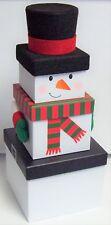 Set of 3 Nested Stackable Christmas Eve Gift Boxes Snowman Santa Reindeer Gonk