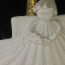 "Vintage 1983 Margaret Furlong 3"" Bisque Sea Shell Angel Holly Xmas Ornament"