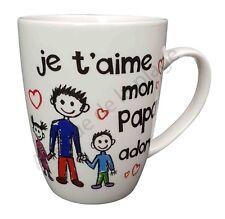 """Mug famille """"Je t'aime Papa adoré"""" idée cadeau tasse café Fête des Pères neuf"""